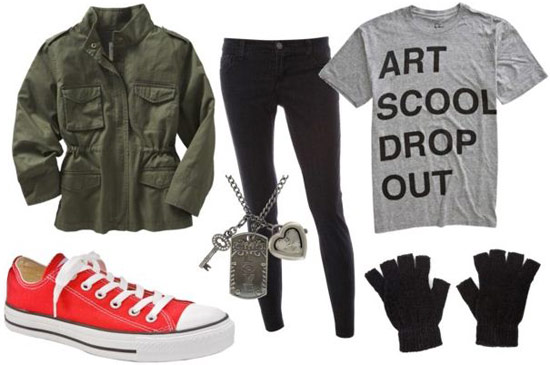 Kurt Cobain outfit 1: Black jeans, red converse, logo tee, gloves, military green jacket