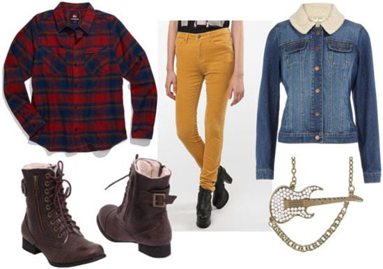 Kurt Cobain outfit 2: Mustard yellow pants, denim and shearling jacket, boots, flannel shirt