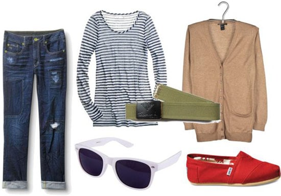Kurt Cobain outfit 3: Striped shirt, white sunglasses, red shoes, cardigan, grungy jeans