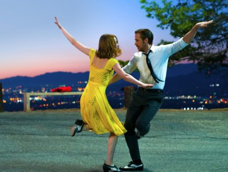Emma Stone and Ryan Gosling dancing in the movie La La Land