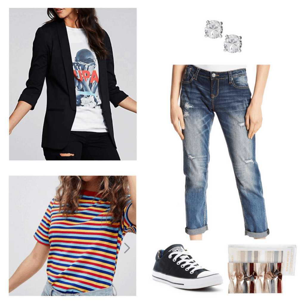 college lab outfit blazer faded jeans striped t-shirt stud earrings chucks