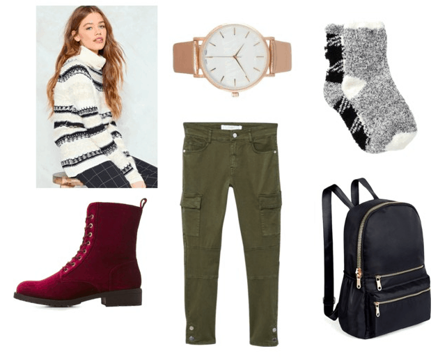 Black and white sweater, velvet booties, rose-gold watch, fuzzy socks, cargo pants, leather backpack