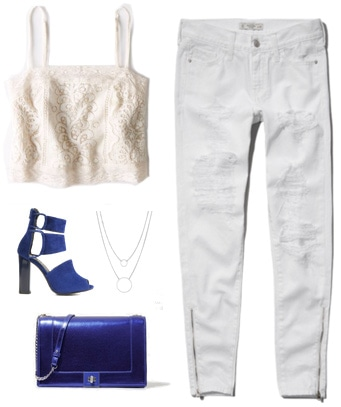 Labor Day white outfit - Ripped jeans, crop top, blue accessories