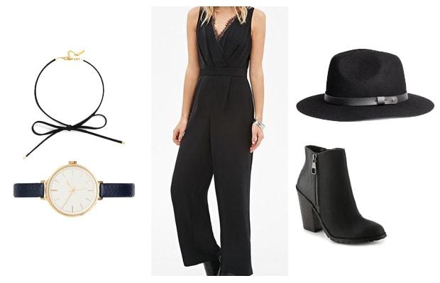 Lace black jumpsuit edgy outfit