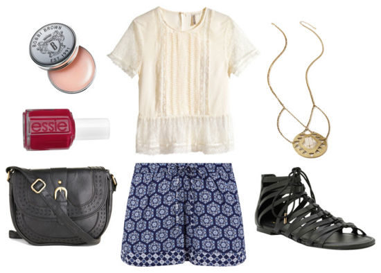 Lace blouse printed shorts gladiator sandals