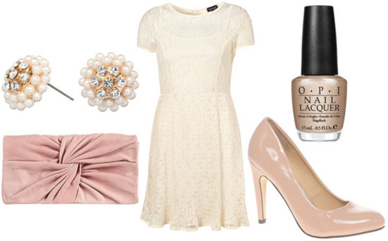 lace dress look for night with nude heels pale pink clutch pearl earrings
