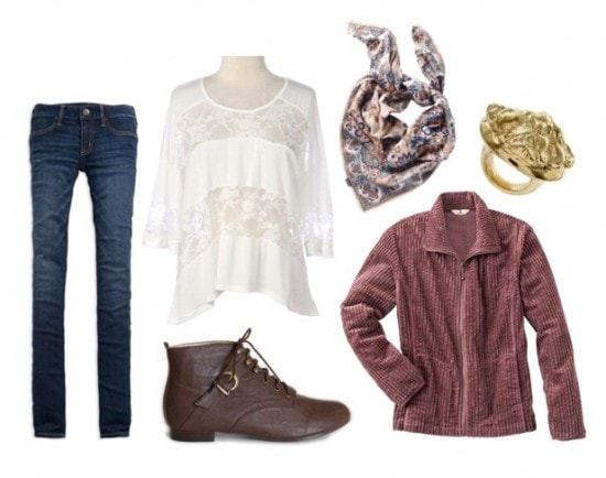 how to wear a lace tee with corduroy scarf
