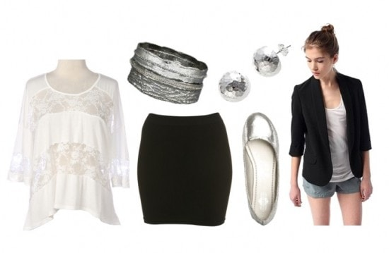 how to wear a lace tee with a blazer