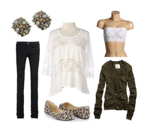 how to wear a lace top with leopard flats