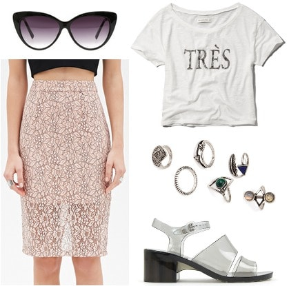lace pencil skirt and graphic tee