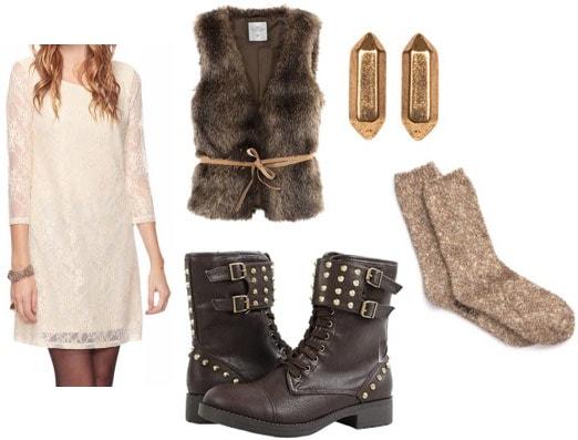 Outfit idea: Beige lace shift dress, faux fur vest, studded motorcycle boots, socks