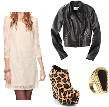 Outfit idea: Beige lace shift dress, black leather moto jacket, leopard print wedge booties, ring