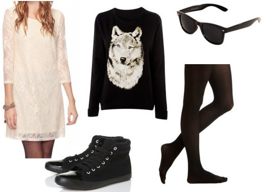 Outfit idea: Beige lace shift dress, wolf sweater, black high top sneakers, tights