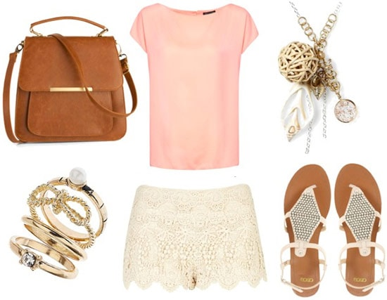 how to wear lace shorts for day with pale pink top studded sandals stackable rings mahogany tote and charm necklace