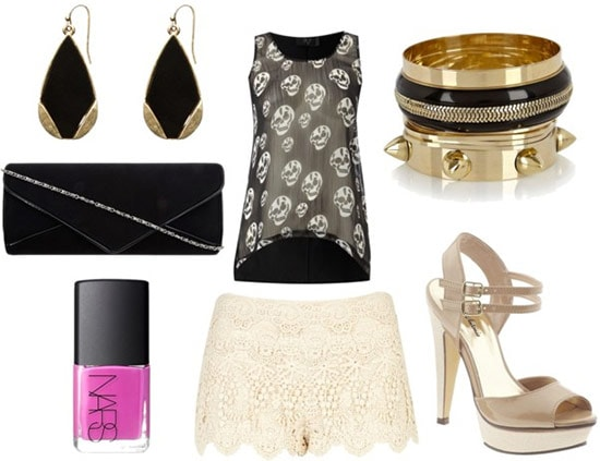 how to wear lace shorts for night with skull print black tank gold spiked bangles black envelope clutch black drop earrings nude sandals and fuchsia nail polish