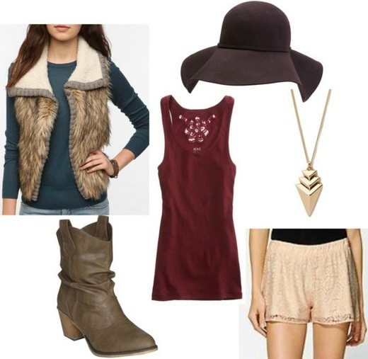 Lace shorts outfit- tank top, boots, vest, hat