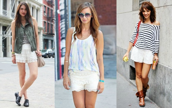 Lace shorts street style