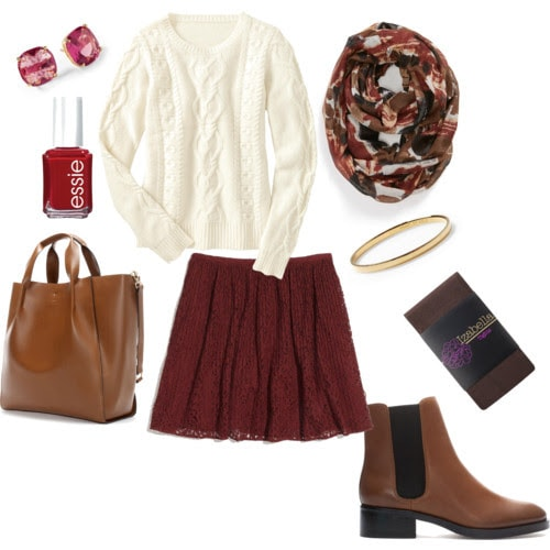 Lace skirt class outfit