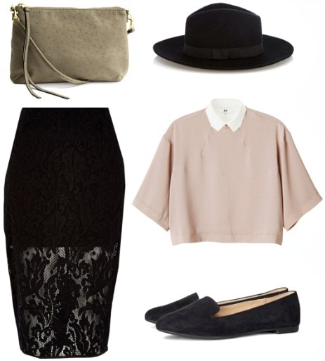 Lace skirt, collared blouse, loafers, hat