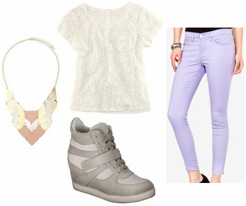 Lace tee, statement necklace, pastel jeans