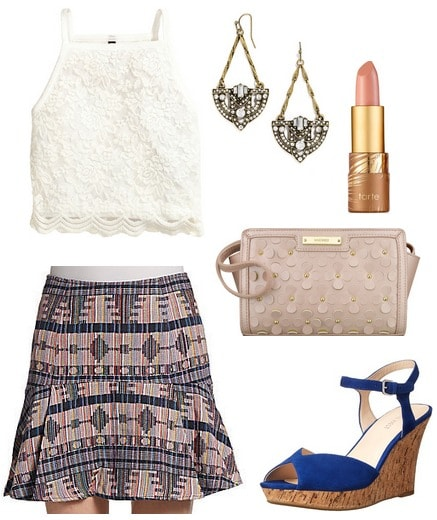 lace top, printed skirt, wedges