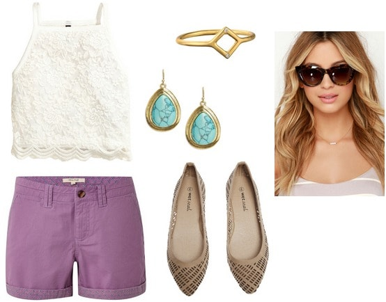 lace top, shorts, flats