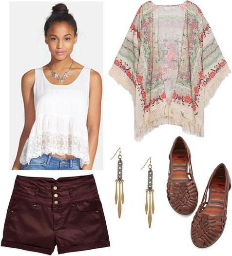 Lace trim tank, high waisted shorts, kimono, woven flats