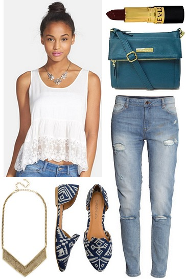 Lace trim tank, ripped jeans, patterned flats