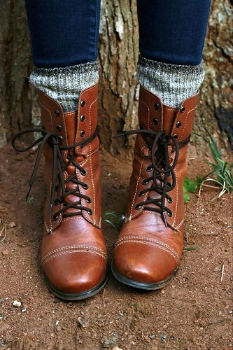 Lace up boots and knit socks