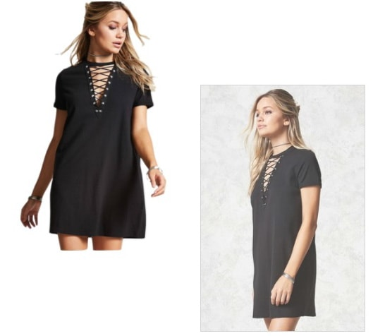 Black Lace Up T Shirt Dress from Forever 21