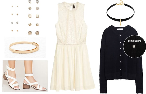 Lace white dress with cardigan semi-formal event outfit
