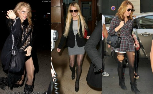 Ke$ha, LiLo, and Miley Cyrus in torn tights