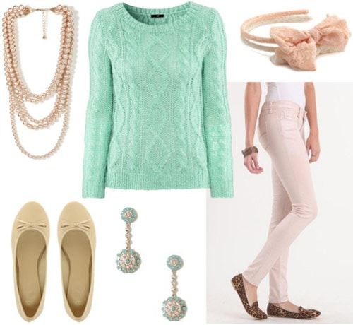 Outfit inspired by Laduree - pastel jeans, mint green sweater, ballet flats, girly accessories