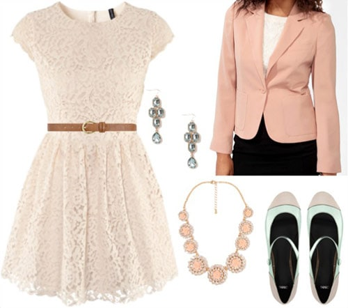 Fashion inspired by Laduree - Lace dress with belt, light pink blazer, mary jane ballet flats, jewelry