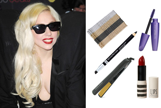 Lady Gaga wearing bright red lipstick and her hair in curls