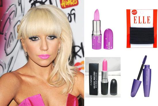Lady Gaga rocking hot pink lipstick