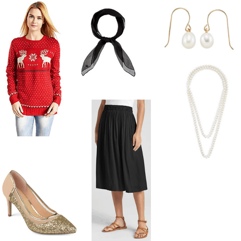 Outfit with red reindeer sweater, black midi skirt, sparkly gold pumps, black scarf, and pearl earrings and necklace