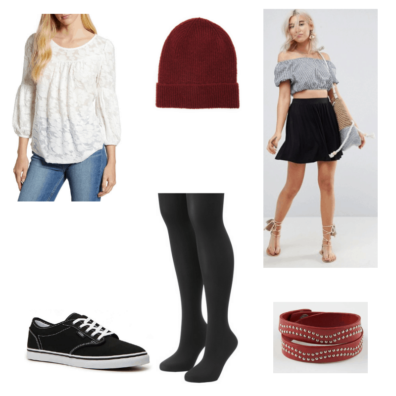 Outfit with lace blouse, black skirt, black tights, burgundy beanie, red studded bracelet, and Vans sneakers