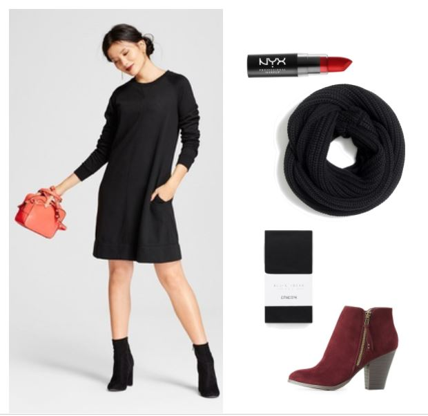 Laid back but dressy date outfit idea: Black sweater dress, burgundy booties, black circle scarf, black opaque tights, red lipstick