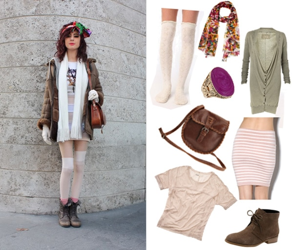Street style look - head scarves and knee socks