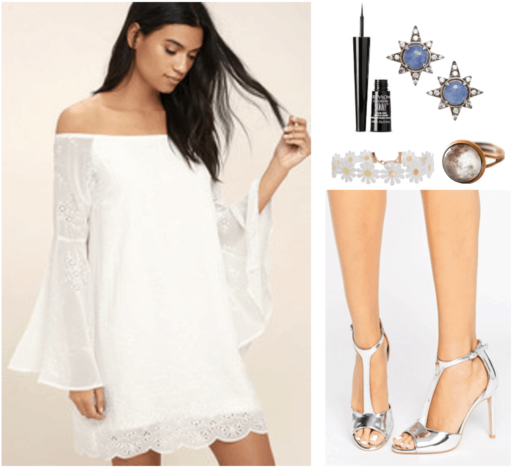 "Fashion Inspired by Music Videos: ""Love,"" by Lana Del Rey--Outfit #1 featuring white off-the-shoulder bell-sleeve embroidered mini-dress, skinny black eyeliner, silver star earrings with blue and white stones, white daisy crochet choker, bronze-tone and glass moon ring, and silver t-bar heeled sandals"