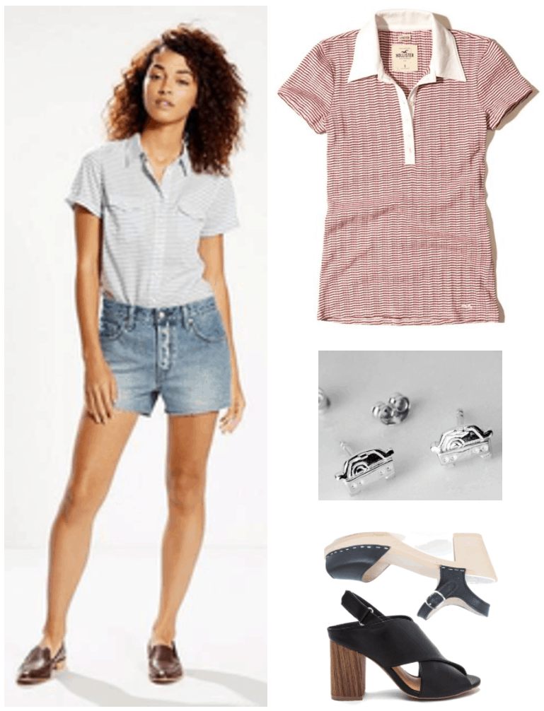 "Fashion Inspired by Music Videos: ""Love,"" by Lana Del Rey--Outfit #2 light-wash denim cut-off shorts, red-and-white skinny-striped polo shirt with white collar, silver car stud earrings, black clog sandals, black chunky-heel wooden criss-cross sandals"