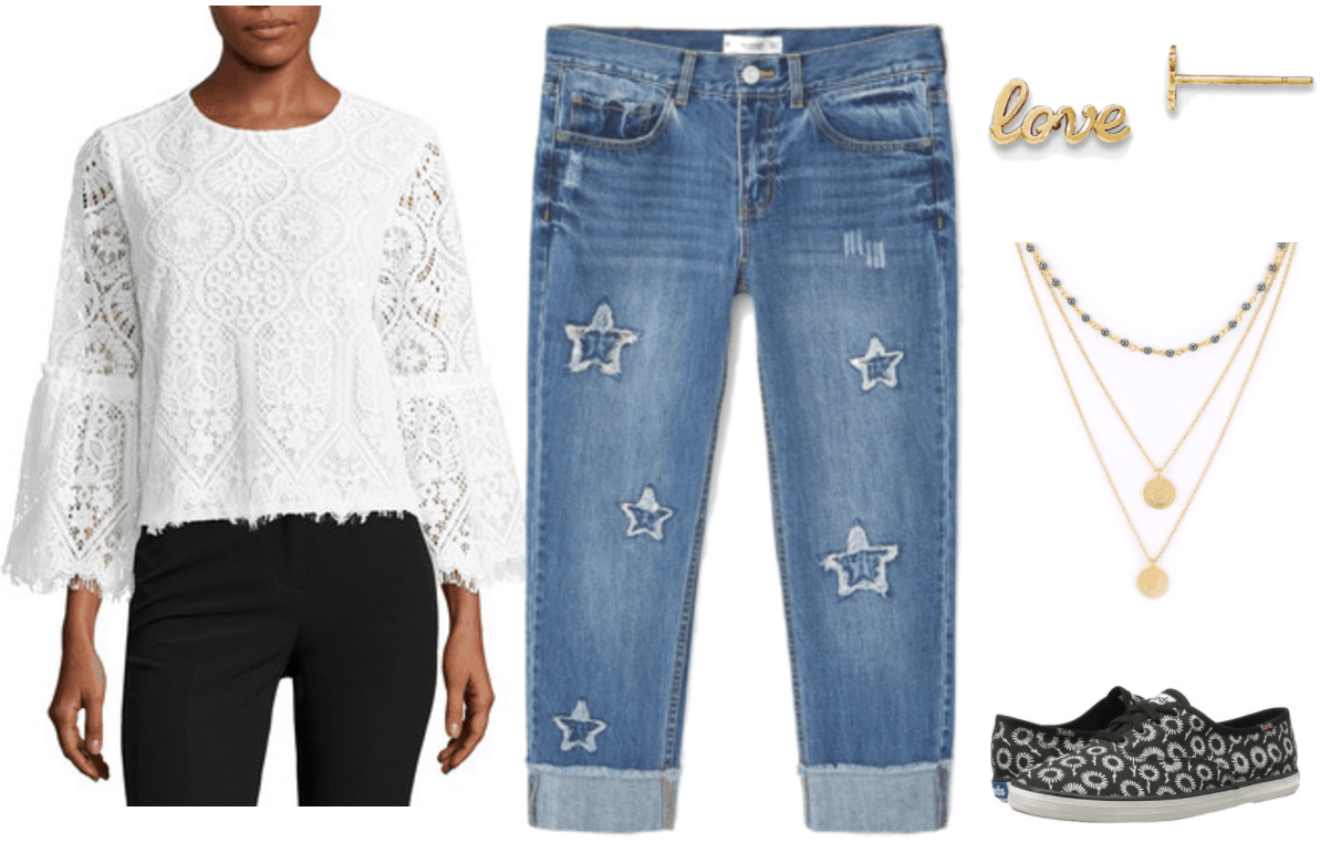 "Fashion Inspired by Music Videos: ""Love,"" by Lana Del Rey--Outfit #4 featuring lace bell-sleeve top, straight-leg cuffed cropped jeans with stars, gold love script earrings, moon charm and black pearl bead triple-layered necklace, black sneakers with white daisy print"