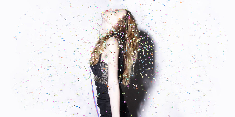 Girl amongst confetti