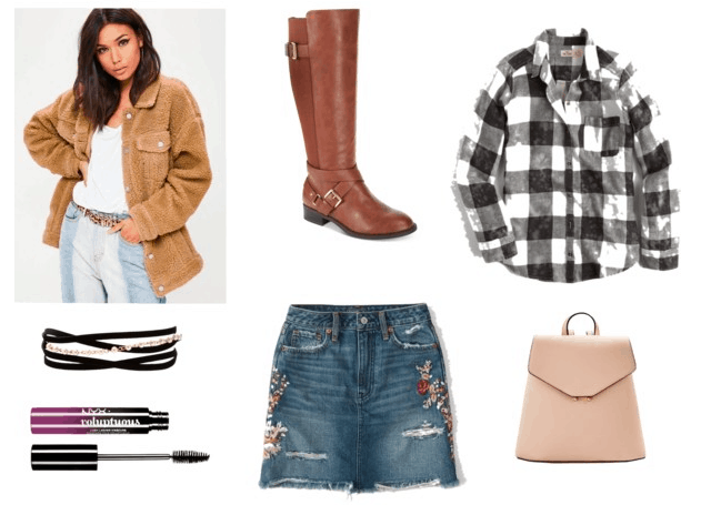 Sherpa jacket, riding boots, white flannel, pink backpack, embroidered denim skirt, layered chokers, mascara