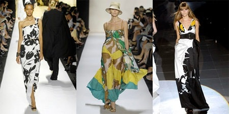 Long dresses with large floral prints by Michael Kors, Diane Von Furstenburg, and Gucci on the Spring 2008 Ready To Wear runways