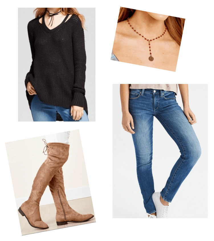 Fall trends: Lariat necklace and over the knee boots. Cutout black sweater, red lariat necklace, blue skinny jeans, light brown suede over the knee boots