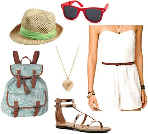 What to wear in Las Vegas: Outfit 1 - white dress, fedora, backpack, sandals, wayfarers