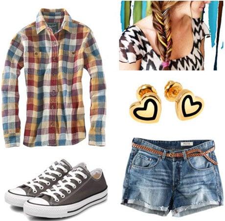Last minute outfit 1: Flannel shirt, denim cutoffs, Converse sneakers, earrings, side braid