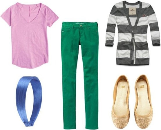Last minute outfit 2: Bright skinny jeans, basic pink tee, gold sparkle flats, striped cardigan, shiny headband